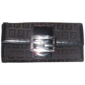 Fendi Black Zucchino Print XL Bi-fold Wallet